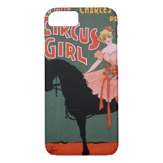 Capa iPhone 8/ 7 Circo do vintage da acrobata fêmea em um cavalo