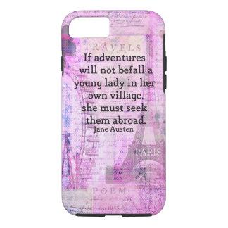Capa iPhone 8/ 7 Citações bonitos do viagem de Jane Austen com arte