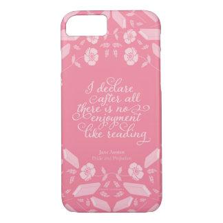 Capa iPhone 8/ 7 Citações Bookish florais de Jane Austen do orgulho