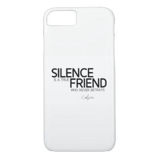 Capa iPhone 8/ 7 CITAÇÕES: Confucius: O silêncio é um amigo