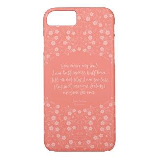 Capa iPhone 8/ 7 Citações florais da carta de amor de Jane Austen