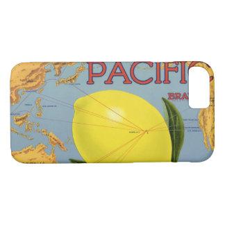 Capa iPhone 8/ 7 Citrino pacífico do limão da arte da etiqueta da