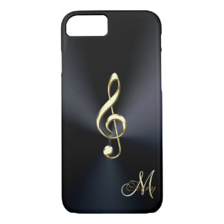 Capa iPhone 8/ 7 Clef preto elegante da música do ouro