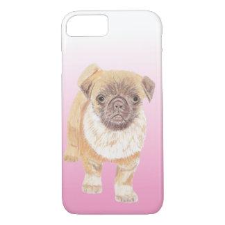 Capa iPhone 8/ 7 Cobrir do telefone do Pug, cor-de-rosa