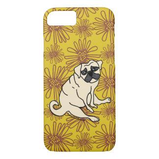 Capa iPhone 8/ 7 Cobrir do telefone do Pug da margarida