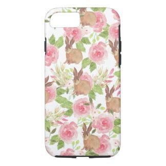 Capa iPhone 8/ 7 Coelho de coelho marrom floral dos rosas