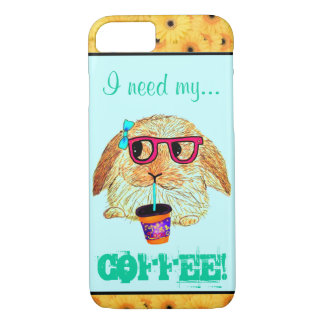 Capa iPhone 8/ 7 Coelho do hipster com café