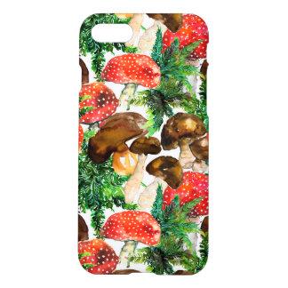 Capa iPhone 8/7 Cogumelos da aguarela e teste padrão verde da