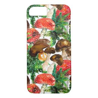 Capa iPhone 8/ 7 Cogumelos da aguarela e teste padrão verde da