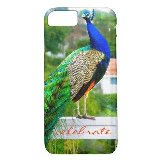"""Capa iPhone 8/ 7 """"Comemore"""" a foto bonito, à moda do pavão do verde"""