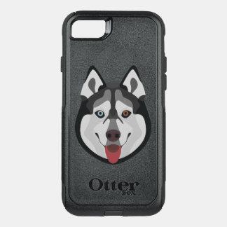 Capa iPhone 8/7 Commuter OtterBox A ilustração persegue o rouco Siberian da cara