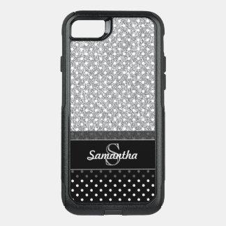 Capa iPhone 8/7 Commuter OtterBox Brilho feminino & monogramas da falsificação do