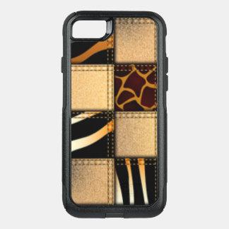 Capa iPhone 8/7 Commuter OtterBox Colagem animal de jeans do impressão do girafa da