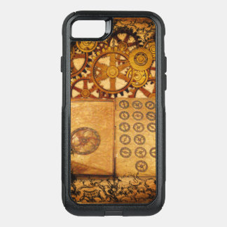 Capa iPhone 8/7 Commuter OtterBox Engrenagens de Steampunk do Grunge