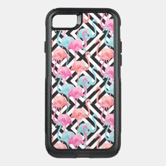 Capa iPhone 8/7 Commuter OtterBox Flamingos no teste padrão corajoso do design
