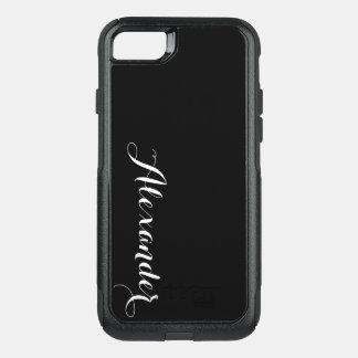 Capa iPhone 8/7 Commuter OtterBox Fundo da cor de DIY, preto conhecido do monograma