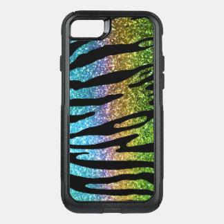 Capa iPhone 8/7 Commuter OtterBox Lontra da caixa da listra do tigre do arco-íris do