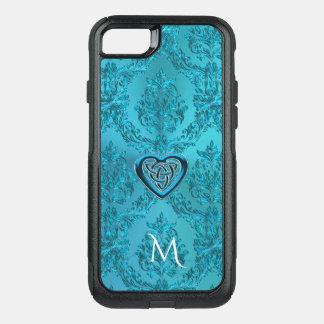 Capa iPhone 8/7 Commuter OtterBox Monograma celta do nó do coração do damasco de