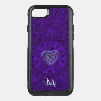 Capa iPhone 8/7 Commuter OtterBox Monograma celta roxo da mandala do coração
