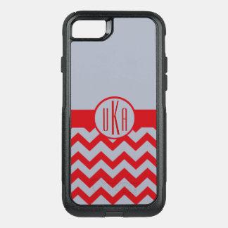 Capa iPhone 8/7 Commuter OtterBox Monograma customizável de escarlate e de cinzas
