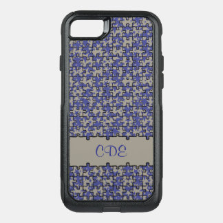 Capa iPhone 8/7 Commuter OtterBox Monograma ou nome do teste padrão do quebra-cabeça