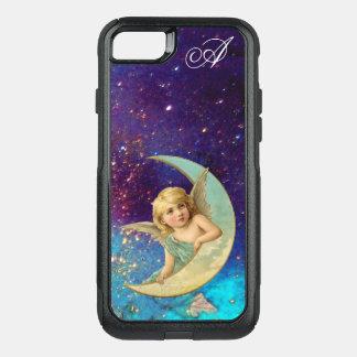 Capa iPhone 8/7 Commuter OtterBox O ANJO da LUA no OURO AZUL SPARKLES monograma