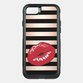 Capa iPhone 8/7 Commuter OtterBox o preto cor-de-rosa do ouro dos lábios vermelhos