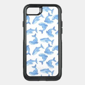 Capa iPhone 8/7 Commuter OtterBox Teste padrão da baleia azul da aguarela