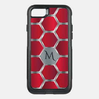 Capa iPhone 8/7 Commuter OtterBox Teste padrão geométrico vermelho & de prata