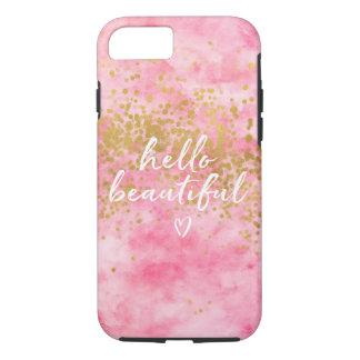 Capa iPhone 8/ 7 Confetes cor-de-rosa do ouro da aguarela olá!
