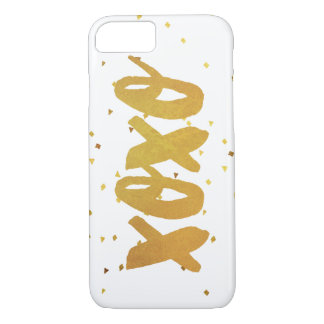 Capa iPhone 8/ 7 Confetes do Shimmer do ouro de XOXO