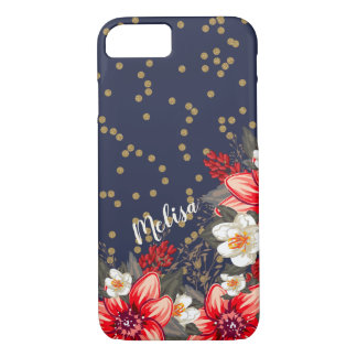 Capa iPhone 8/ 7 Confetes florais corajosos do ouro no marinho