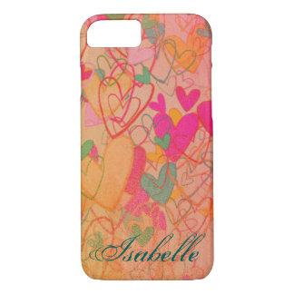 Capa iPhone 8/ 7 Confusão nostálgica romântica cor-de-rosa