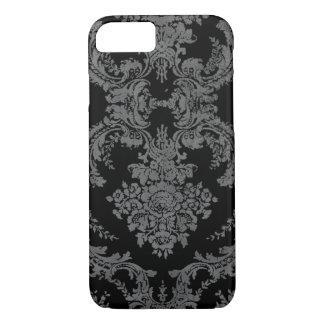 Capa iPhone 8/ 7 Cor damasco suja do vintage - cinzas e preto