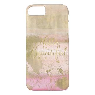 Capa iPhone 8/ 7 Cora a aguarela Glam do ouro cor-de-rosa olá!