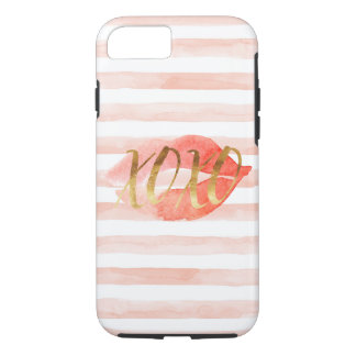 Capa iPhone 8/ 7 Cora o beijo cor-de-rosa da aguarela do ouro XOXO