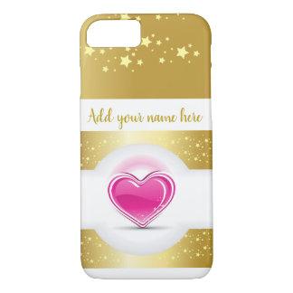 Capa iPhone 8/ 7 Coração cor-de-rosa feminino com estrelas do ouro