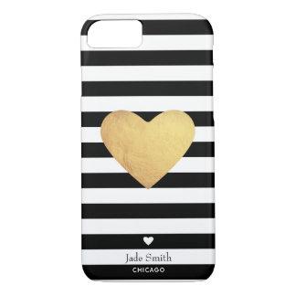 Capa iPhone 8/ 7 Coração de ouro com listras