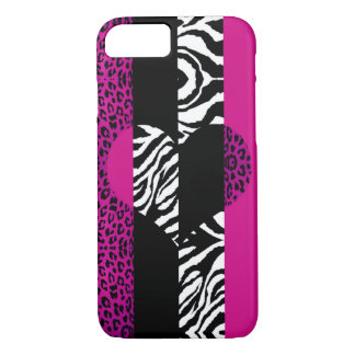 Capa iPhone 8/ 7 Coração do animal do leopardo e da zebra do rosa