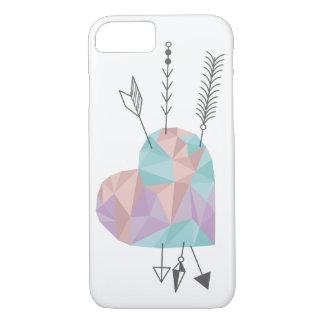Capa iPhone 8/ 7 Coração e setas de cristal