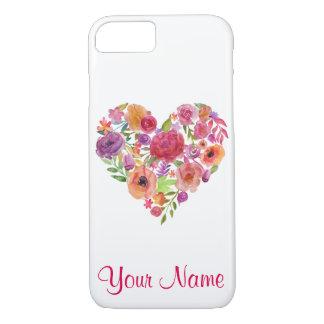 Capa iPhone 8/ 7 Coração floral com seu cobrir conhecido do