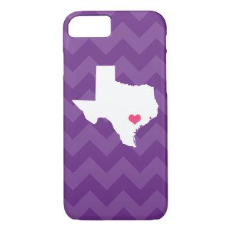 Capa iPhone 8/ 7 Coração roxo moderno personalizado de Chevron
