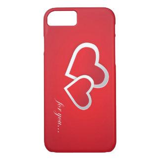 Capa iPhone 8/ 7 Corações bonitos com texto para amantes