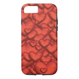 Capa iPhone 8/ 7 Corações cintilantes vermelhos escuro
