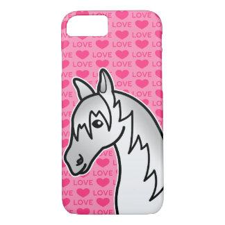 Capa iPhone 8/ 7 Corações cinzentos do amor do cavalo dos desenhos