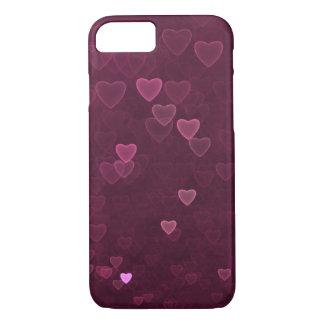 Capa iPhone 8/ 7 Corações cor-de-rosa de Bokeh
