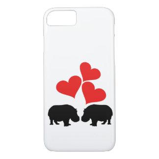 Capa iPhone 8/ 7 Corações & hipopótamos