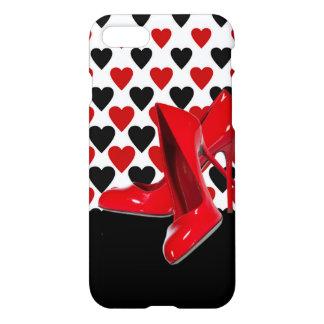 Capa iPhone 8/7 Corações vermelhos & pretos com saltos altos