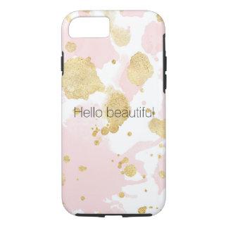 Capa iPhone 8/ 7 Coram os Splatters cor-de-rosa da pintura do ouro