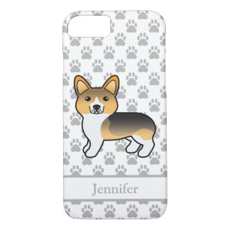 Capa iPhone 8/ 7 Corgi Tricolor claro de Galês do Pembroke & nome